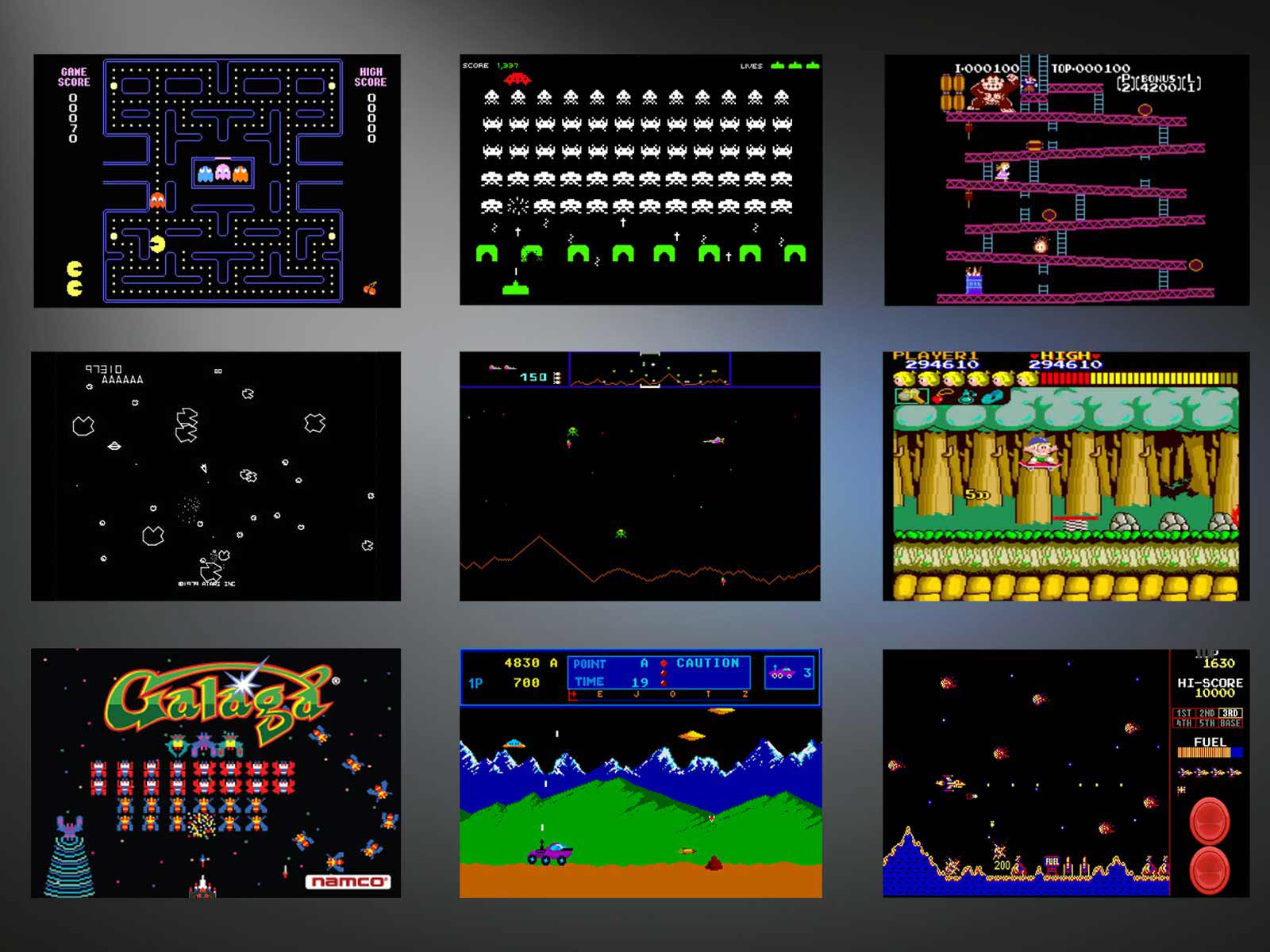 Pac Man, Donkey Kong, Space Inavders uvm